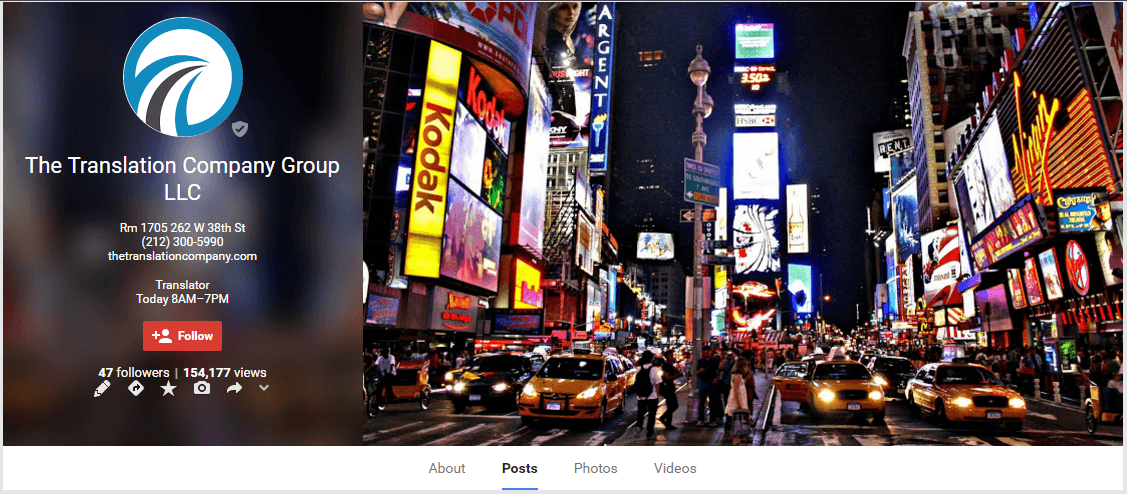 Google Plus Page for The Translation Company Group LLC